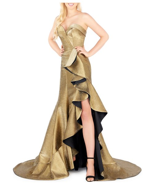 Mac Duggal Strapless Metallic Cascading Gown in gold