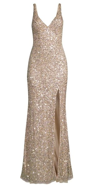 Mac Duggal v-neck sequin sheath gown in shimmering gold