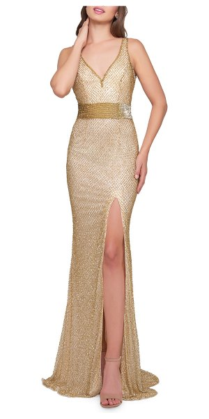 f4b54763e03a1 Mac Duggal V-Neck Sleeveless Beaded Gown w  Thigh Slit in gold - Mac