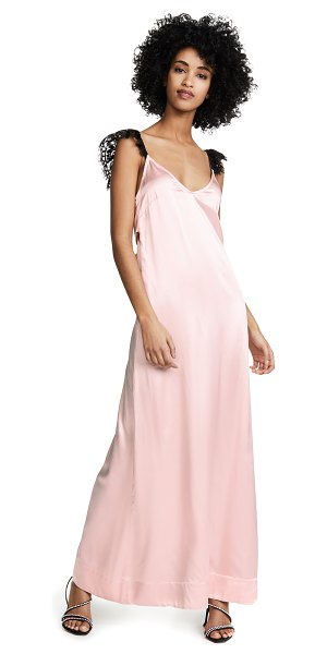 macgraw opium silk dress in pink/black - Fabric: Satin Lace straps Maxi hem Tie at back Slip...