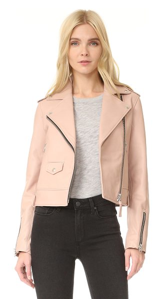 Mackage baya sleek leather jacket in petal - A leather Mackage jacket with timeless appeal. Zips...