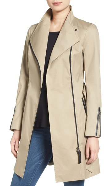 Mackage estela belted long trench coat in sand - Leather trim and zip detailing bring moto-inspired edge...