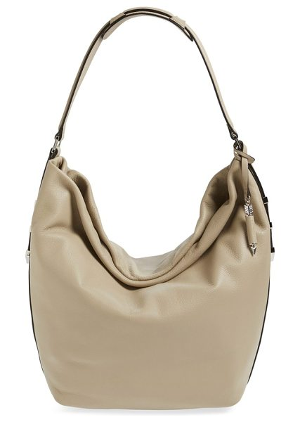 Mackage Declan leather hobo in sand/ shiny nickel - Richly textured Italian leather amplifies the modern...