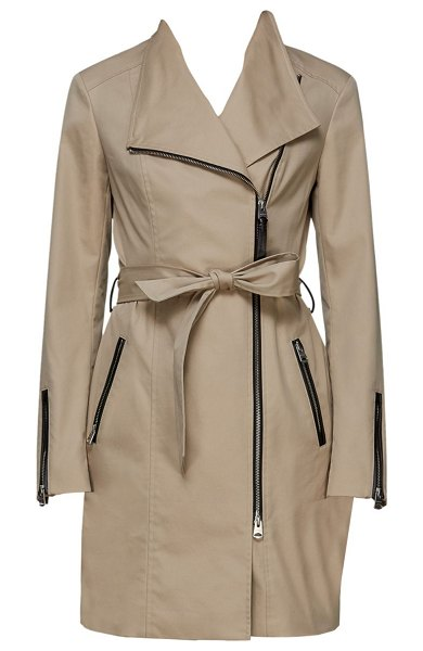 Mackage estela belted trench coat in sand - Svelte trench coat flaunts dramatic lapels and various...