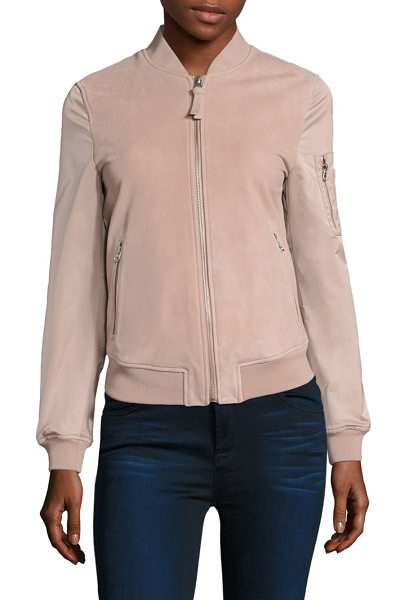 MACKAGE vimka suede & satin bomber jacket - Must-have bomber jacket in soft satin and suede. Stand...