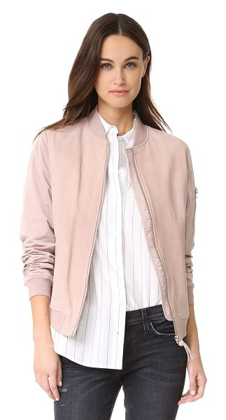Mackage vimka bomber jacket in petal - This Mackage bomber jacket is crafted with a tonal suede...