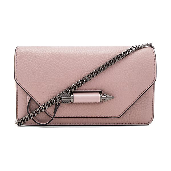 Mackage Zoey Mini Crossbody in mauve - Leather exterior with suede lining. Flap top with arrow...