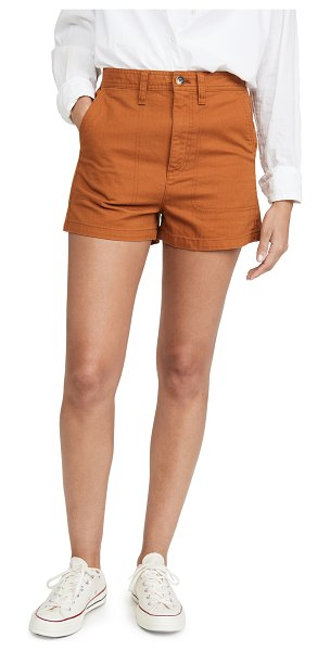 Madewell camp shorts in burnt sienna
