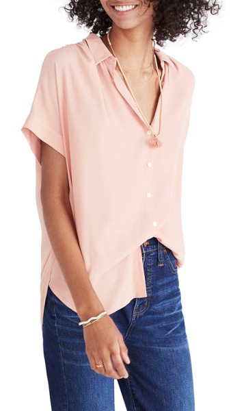 MADEWELL central drapey shirt - Perfect for a casual-cool front tuck, this smooth woven...