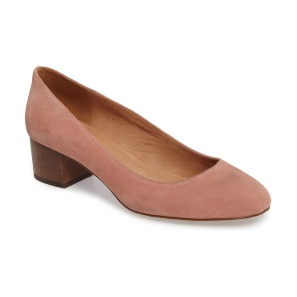 Madewell ella pump in dusty clay suede - A stable, wooden-block heel looks fresh and makes it...