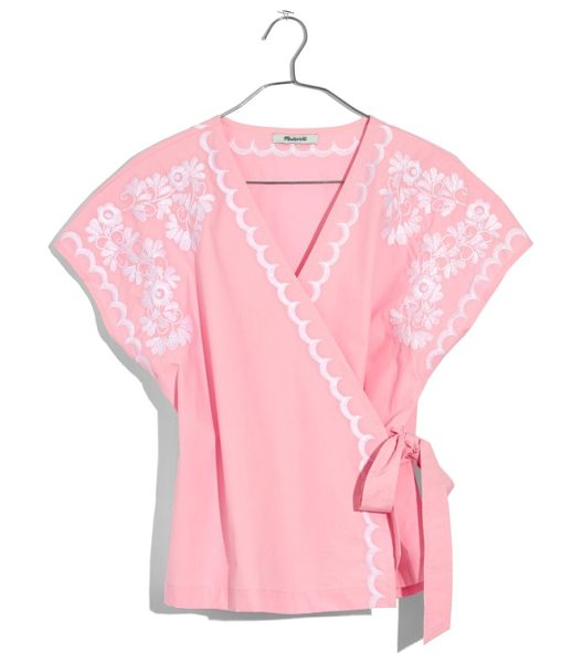 Madewell embroidered kimono wrap top in petal pink
