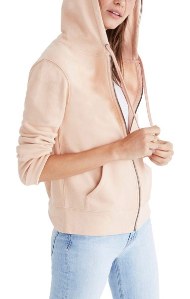 Madewell embroidered rainbow zip hoodie in voile pink