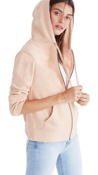 Madewell embroidered rainbow zip hoodie in voile pink - Made of soft cotton and stitched with a cool rainbow...