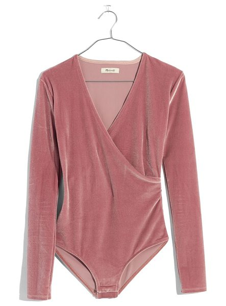 Madewell faux wrap velvet bodysuit in mauve shadow - Supersoft and stretchy, this versatile velvet bodysuit...