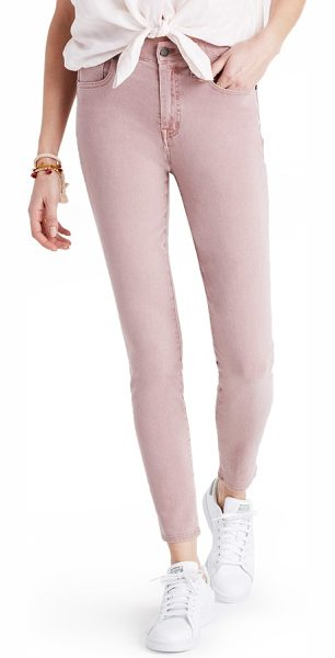 MADEWELL garment dye high waist crop skinny jeans - Rinsed with a dusky pink hue perfect for warmer weather,...
