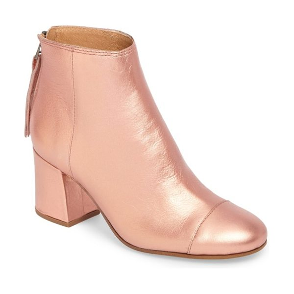 Madewell glenda bootie in metallic blush leather - A covered block heel adds trend-right height to an...