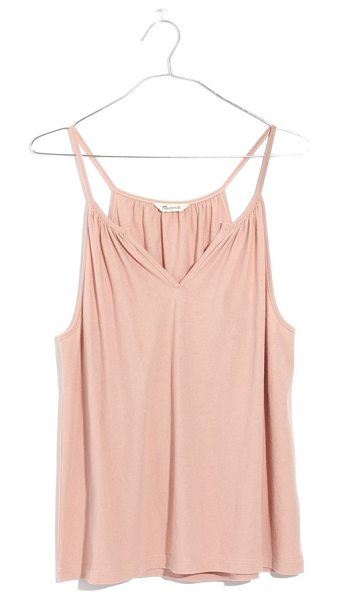 Madewell hazel split neck camisole in dusty blush - Pretty shirring and a split neckline upgrade a cozy...