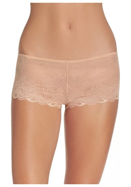 Madewell lace boyshorts in viole pink - A slight V-waist and cheeky back create a flattering fit...