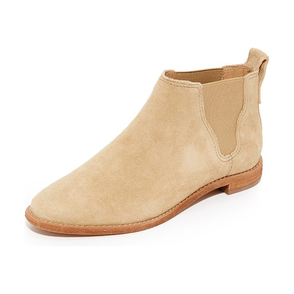 MADEWELL bryce chelsea boots in tan cliff - Suede Madewell booties with an almond toe. Elastic gores...