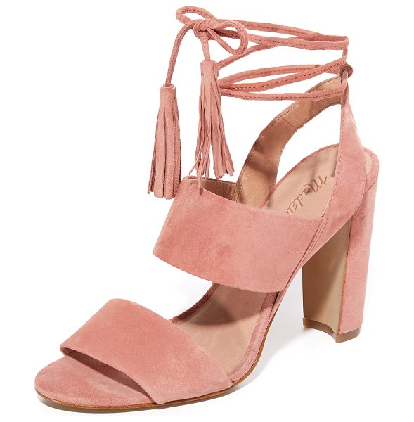 Madewell octavia tassel sandals in cafe pink - Suede Madewell sandals with slim tasseled ties at the...