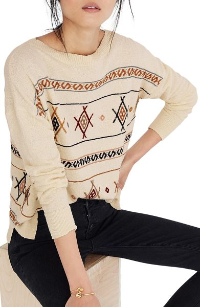 Madewell reseda embroidered pullover sweater in eggshell - Colors and patterns inspired by Southwestern tapestry...