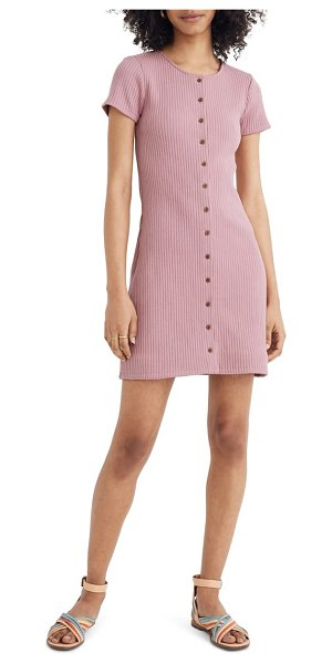 Madewell ribbed button front minidress in pink