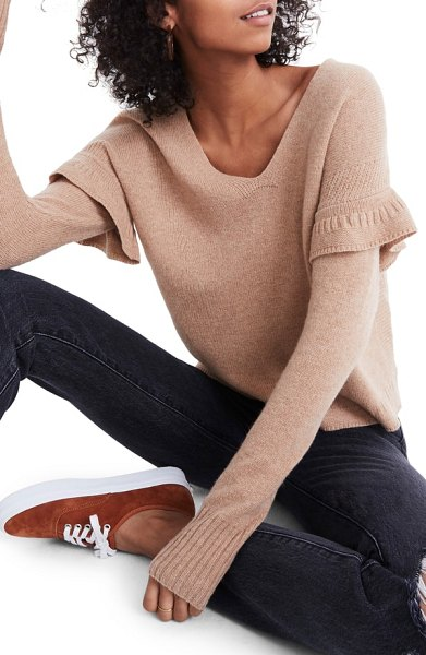 Madewell ruffle stitch play pullover sweater in heather saddle - This heathered merino wool sweater takes soft seriously,...