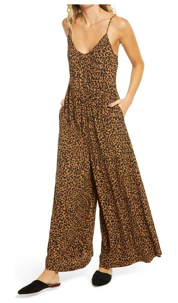Madewell shirred cami wide leg jumpsuit in brown