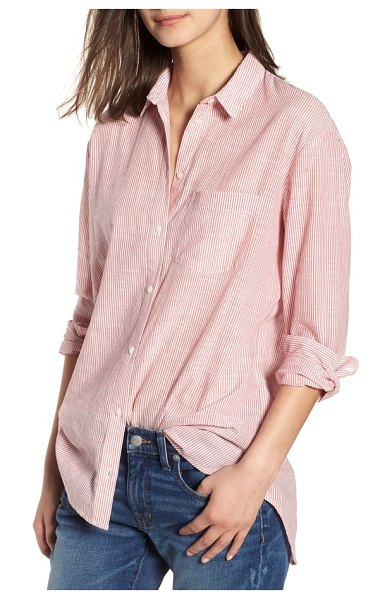 Madewell stripe oversize ex-boyfriend shirt in strawberry sorbet - A high/low shirttail hem adds feminine detail to a...