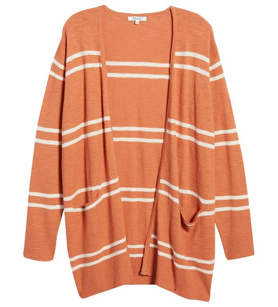 Madewell stripe summer ryder cardigan sweater in brown