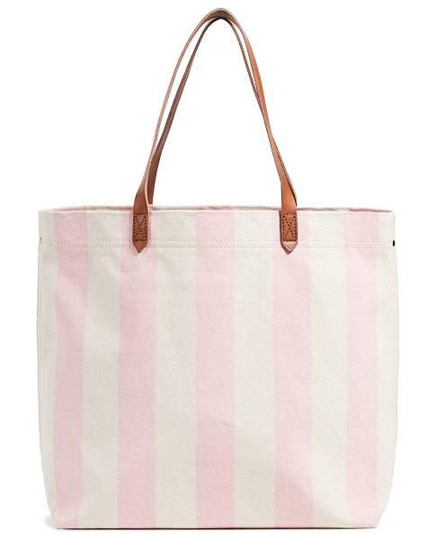 Madewell striped canvas transport tote in petal pink stripe - Fabric: Canvas Stripe pattern Zip interior pockets Patch...