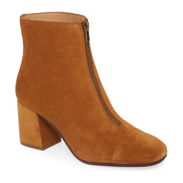 Madewell the amalia zip suede boot in brown