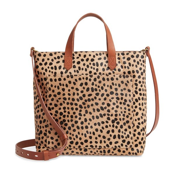 Madewell the zip top small transport crossbody: spotted calf hair edition in brown