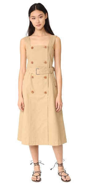 Madewell trench dress in drill khaki - A pinafore-style Madewell dress imitates a trench coat...