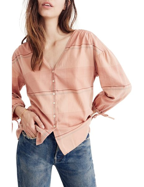 MADEWELL v-neck tie sleeve top - Tie cuffs accentuate the bloused sleeves of a soft...