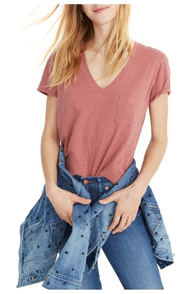 Madewell whisper cotton v-neck pocket tee in pink - A classic pocket tee with a deep V-neckline is spun from...