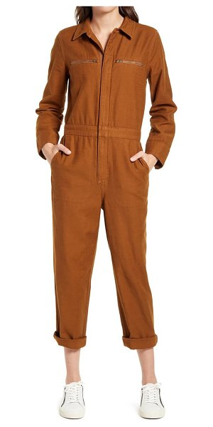 Madewell zip pocket coverall jumpsuit in brown