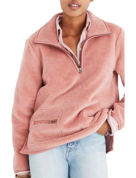 Madewell zooey fleece pullover in sunset rose - Fuzzy and fluffy, this high-pile fleece pullover is...