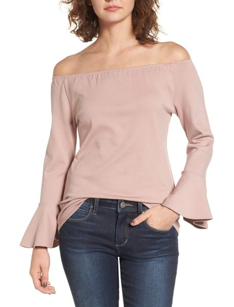 Madison & Berkeley off the shoulder ruffle blouse in pink adobe - An off-the-shoulder neckline and dramatic bell sleeves...