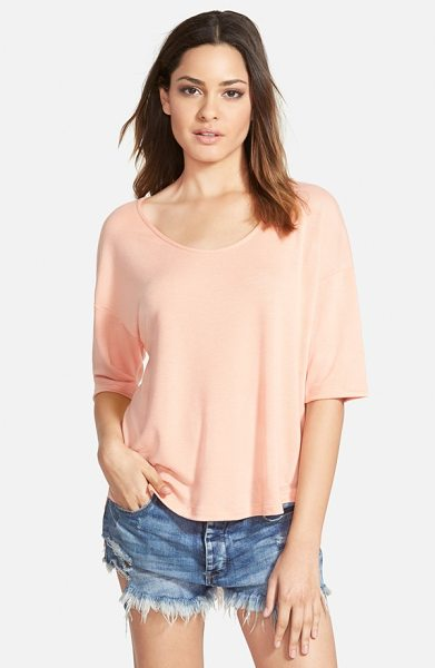 Madison & Berkeley short sleeve mixed media top in coral - Elbow sleeves with dropped shoulders and a pleated,...