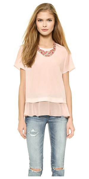 Madison Marcus Delilah layered tee in blush - A sheer georgette ruffle gives this Madison Marcus...