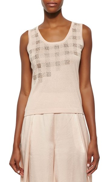 Magaschoni Embellished sleeveless tank in blush -  Magaschoni knit tank with an asymmetric metallic plaid...