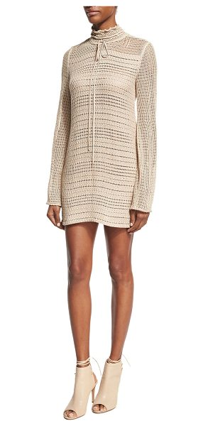 Magda Butrym Crocheted Tie-Neck Minidress in beige - Magda Butrym minidress in hand-crocheted knit made using...