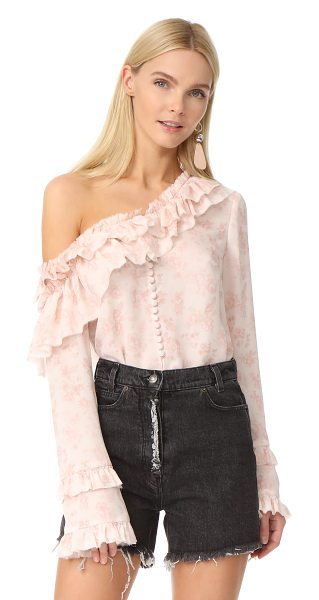 Magda Butrym off the shoulder blouse in pink - A Magda Butrym blouse in a dusty floral print. Ruffles...