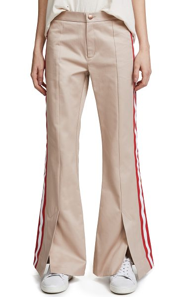 Maggie Marilyn game changer pants in camel - Fabric: Twill Striped grosgrain trim Split cuffs Flare...