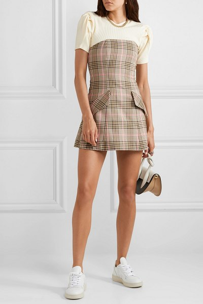Maggie Marilyn i believe in you strapless checked woven mini dress in sand