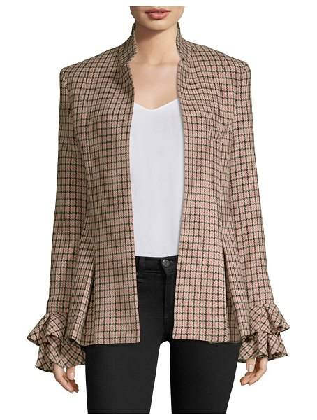 Maggie Marilyn wool-blend checked ruffle jacket in pink check
