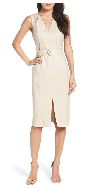 MAGGY LONDON belted sheath dress in natural - Sleek cutouts and a front slit update the pencil...