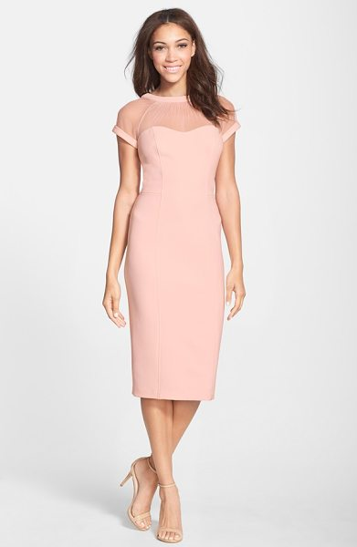 Maggy London illusion yoke crepe sheath dress in blush - Sheer mesh is softly gathered to a V-back neckline for a...