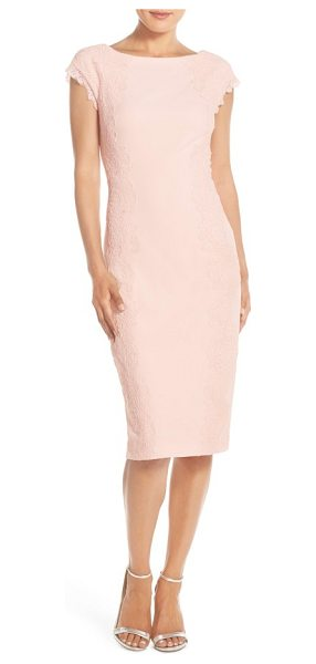 Maggy London lace detail crepe sheath dress in blush - Delicate floral lace detailing creates alluring visual...
